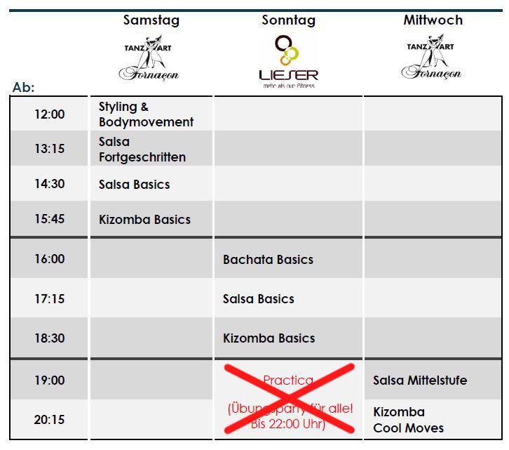 Stundenplan LaLASalsa September